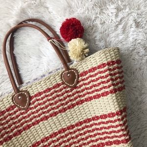 JUSTFAB red+oatmeal straw weaved large tote NWT